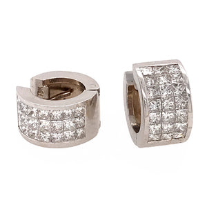18k White Gold Princess Cut Huggies Earrings