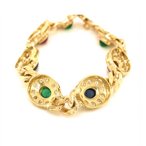 18k Yellow Gold Precious Gemstones and Diamond Bracelet