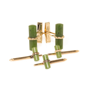Estate 14K Yellow Gold Jade Cufflinks and Shirt Studs Set