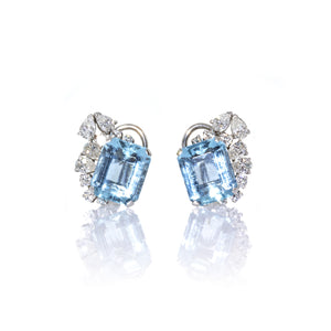 Estate 14K White Gold Aquamarine and Diamond Earrings