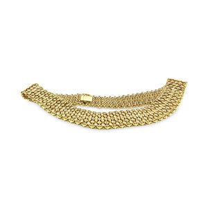 Estate 18K Yellow Gold Diamond Wide Necklace Length: 17""