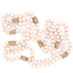 8 mm Cultured Pearl with Diamond Station Long Necklace