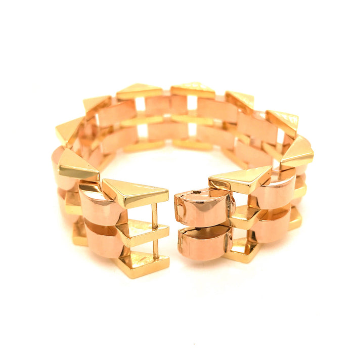 Estate 18K Rose and Yellow Gold Retro Bracelet