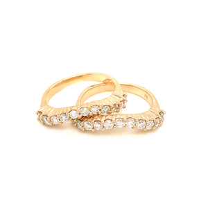 14k Yellow Gold Diamond Nesting Stackable Ring