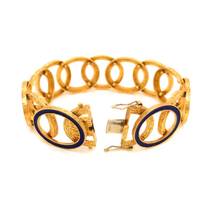 Estate 18K Yellow Gold Enamel Circles Bracelet