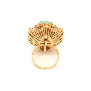 Estate 18k Yellow Gold Opal and Diamond Ballerina StEstate 18k Yellow Gold Opal and Diamond Ballerina Style Ringyle Ring