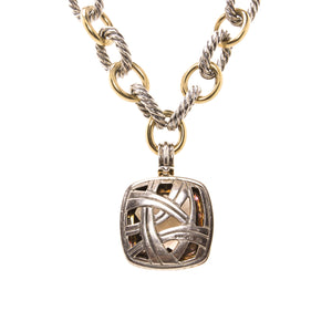 Estate David Yurman Albion 18K Gold and Sterling Silver Chain with Diamond and Smokey Topaz Necklace