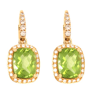18k Yellow Gold Diamond and Peridot Drop Earrings