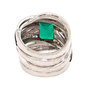 Estate 18k White Gold Emerald and Diamond 3 Row Ring