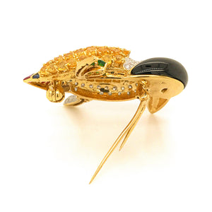 Estate 18K Yellow Gold Sapphire and Diamond Tucan Bird Pin