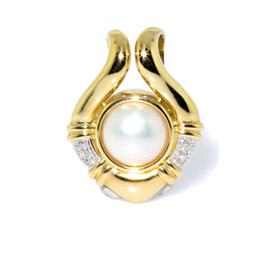 Estate 14K Yellow Gold Mother of Pearl and Diamond Enhancer
