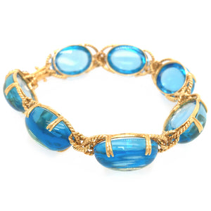 18k Yellow Gold Swiss Blue Topaz Bracelet