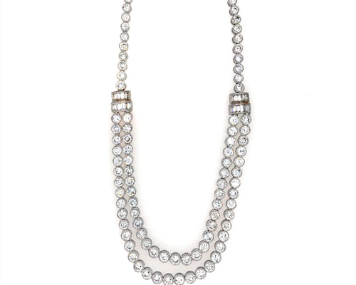 Estate 18K White Gold Nesting Diamond Necklace