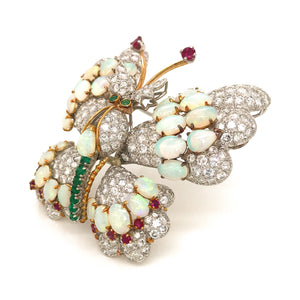 Estate 18k White Gold Diamond, Ruby, Emerald and Opal Butterfly Brooch
