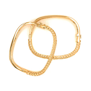 14K Yellow Gold Diamond Nesting Bangle Bracelet
