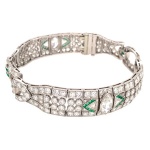 Platinum Art Deco Diamond and Emerald Accent Bracelet