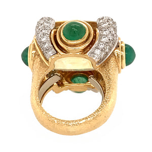 David Webb 18k Yellow Gold Sapphire, Emerald and Diamond Vintage Ring