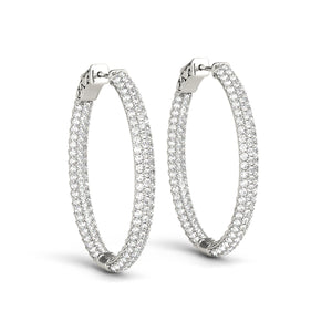 Inside and out Diamond Oval Hoop Earrings