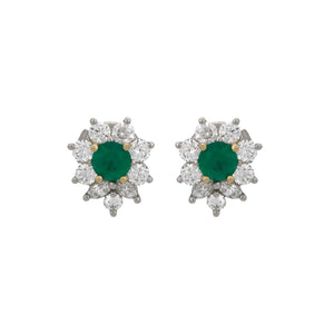 Tiffany & Co. Platinum Emerald and Diamond Victoria Earrings