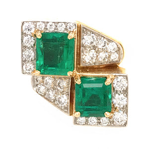 David Webb 18k Yellow Gold Emerald and Diamond Ring