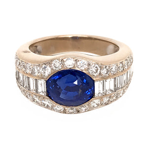 AGL Certified No Heat Ceylon Sapphire and Diamond Ring