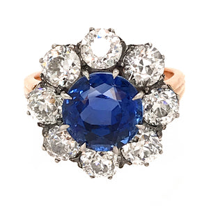 SSEF Certified Ceylon Sapphire No Heat and Diamond Clusted Ring