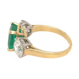 18k White Gold Emerald and Diamond 3 Stone Ring