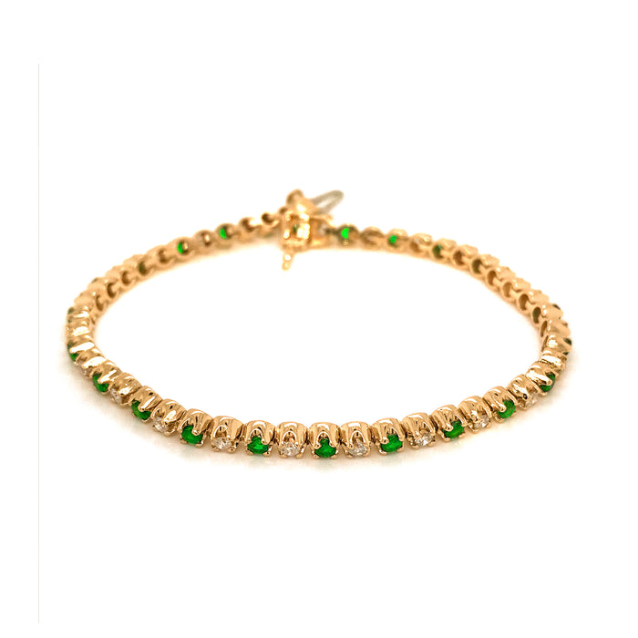 Beautiful 14K Yellow Gold Emerald and Diamond Tennis Bracelet