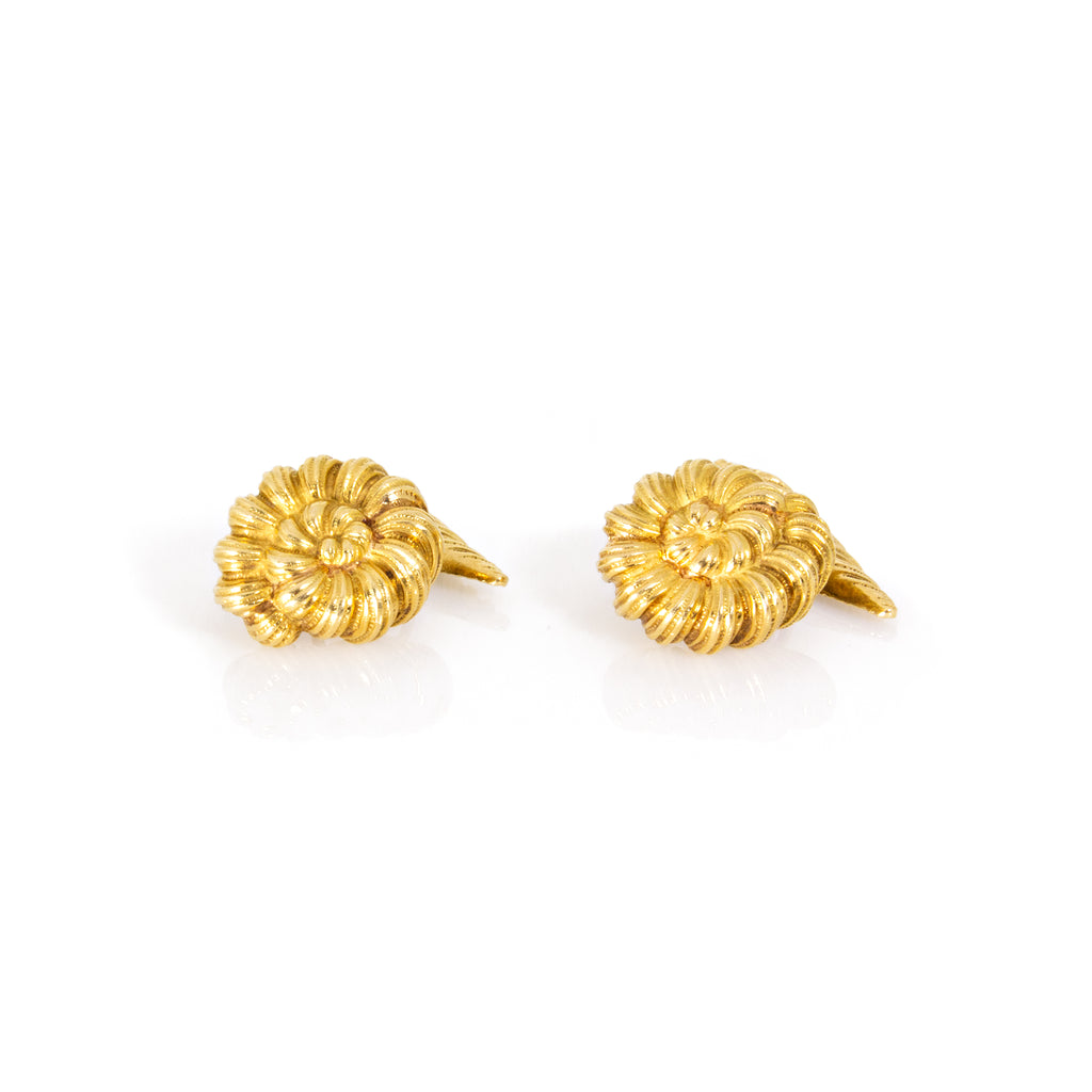 Tiffany and Co. 18K Yellow Gold Schlumberger Anemone Cufflinks