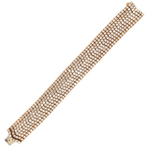 Beautiful 18k Yellow Gold 7 Row Diamond Bracelet