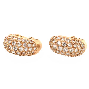 14k Yellow Gold Diamond Pave Earrings