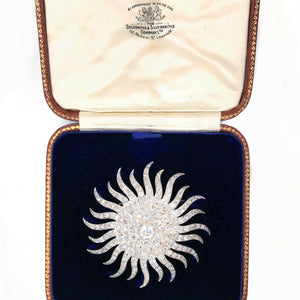 Beautiful 14K Yellow & White Gold Antique Sunburst Old Mine Cut Diamond Brooch