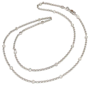 18k White Gold Diamond By the Yard Chain Necklace