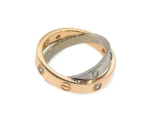 Cartier 18K White and Yellow Gold Be-Love Diamond Ring Size: 4.75