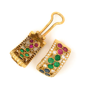 Estate 18K Yellow Gold Ruby, Sapphire and Emerald and Diamond Earrings