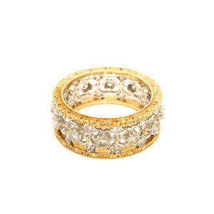 Mario Buccellati 18 Karat Yellow and White Gold Diamond Ring
