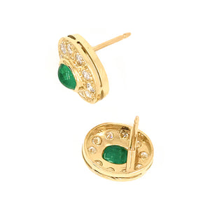 18k Yellow Gold Cabochon Emerald and Diamond Earrings