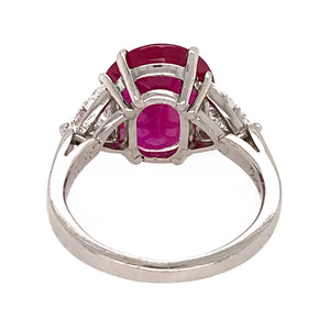 Rare Cartier Platinum GIA Certified Ruby and Diamond Trillion Ring