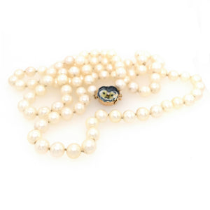 Classic Long Natural Pearls with Flower Enamel and Diamond Clasp Necklace