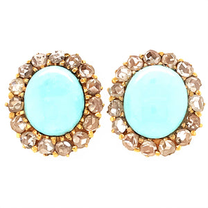 Estate 18k Yellow Gold  Turquoise and Rough Cut Diamond Earrings