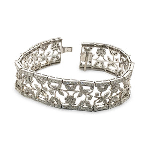 Estate Floral 18K White Gold Diamond Bracelet Length: 7""