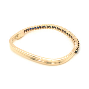 14k Yellow Gold Sapphire Nesting Bangle Bracelet