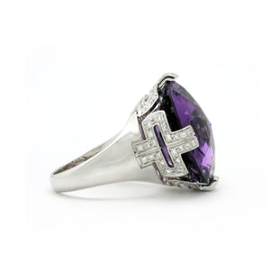Bvlgari 18K White Gold Purple Amethyst and Diamond Ring Size: 6.25