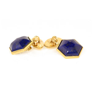 Bvlgari 18K Yellow Gold Lapis Cufflinks