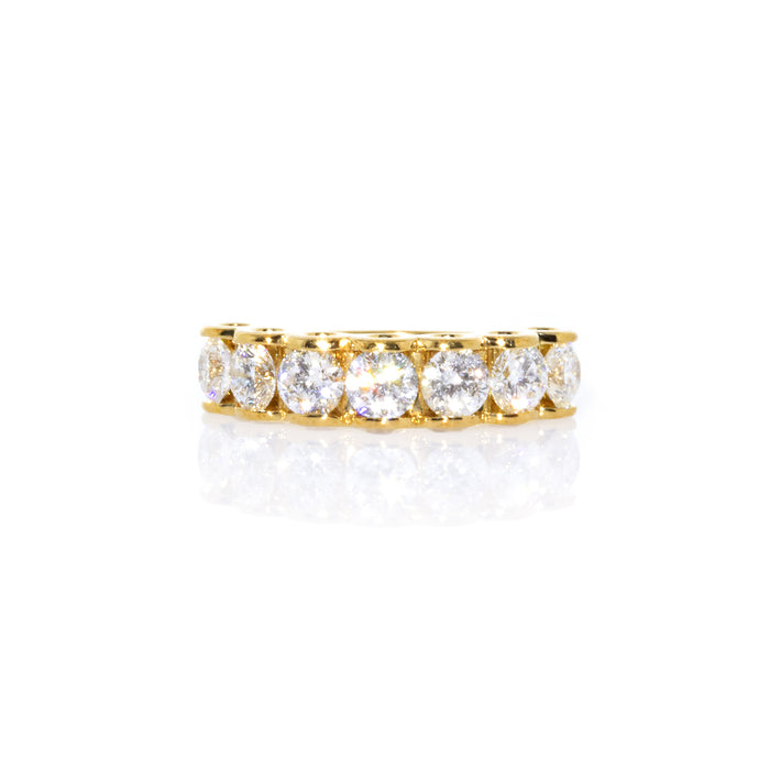 Estate 18K Yellow Gold 7 Diamond Ring