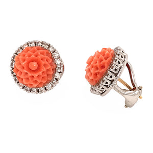 Carved Coral and Diamond Earrings