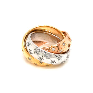 Estate 18K Tri-Color Gold Diamond Stars Ring Size 5.0