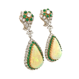 Estate 18k White Gold Opal, Emerald and Diamond Drop Earrings