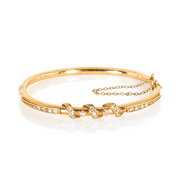 Estate 14K Yellow Gold Diamond Scroll Bangle Bracelet