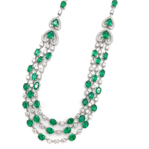 18k White Gold Emerald and Diamond Layered Necklace
